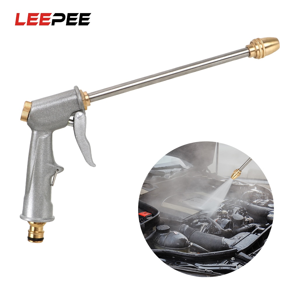 LEEPEE 27CM Metal Water Gun Garden Water Jet Washer High Pressure Power Washer Spray Car Washing Tools High Pressure Water Gun