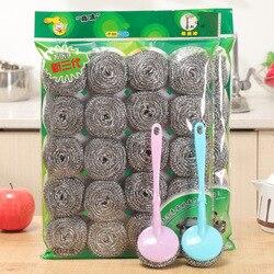 Aço inoxidável bola de limpeza poderosa cozinha pote escova louça prato limpo ferramenta lavagem suprimentos fio espiral limpeza gadgets