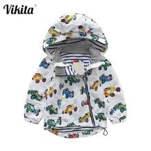 فيكيتا ماركة الأولاد سترة الأطفال ملابس خارجية سترة واقية معطف سيارات الأطفال الكرتون نمط الطفل الشتاء مقنعين معاطف للأطفال T019