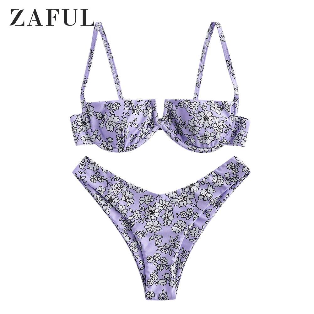 ZAFUL mujeres Sexy flor V cableado alto pierna Bikini traje de baño Underwire Split de corte alto Bikini traje de baño Push Up dos piezas traje de baño