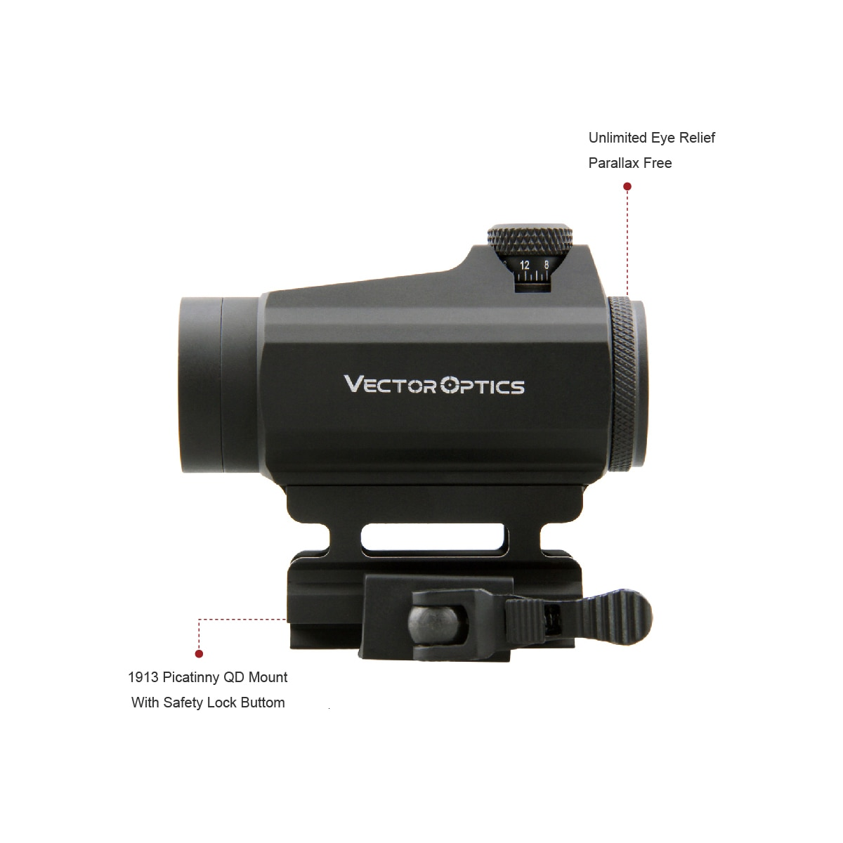 Vector Optics Maverick GenII 1x22 Red Dot Scope Sight Hunting Tactical Uncapped Turret QD Mount For Real Firearms .308 Airsoft enlarge