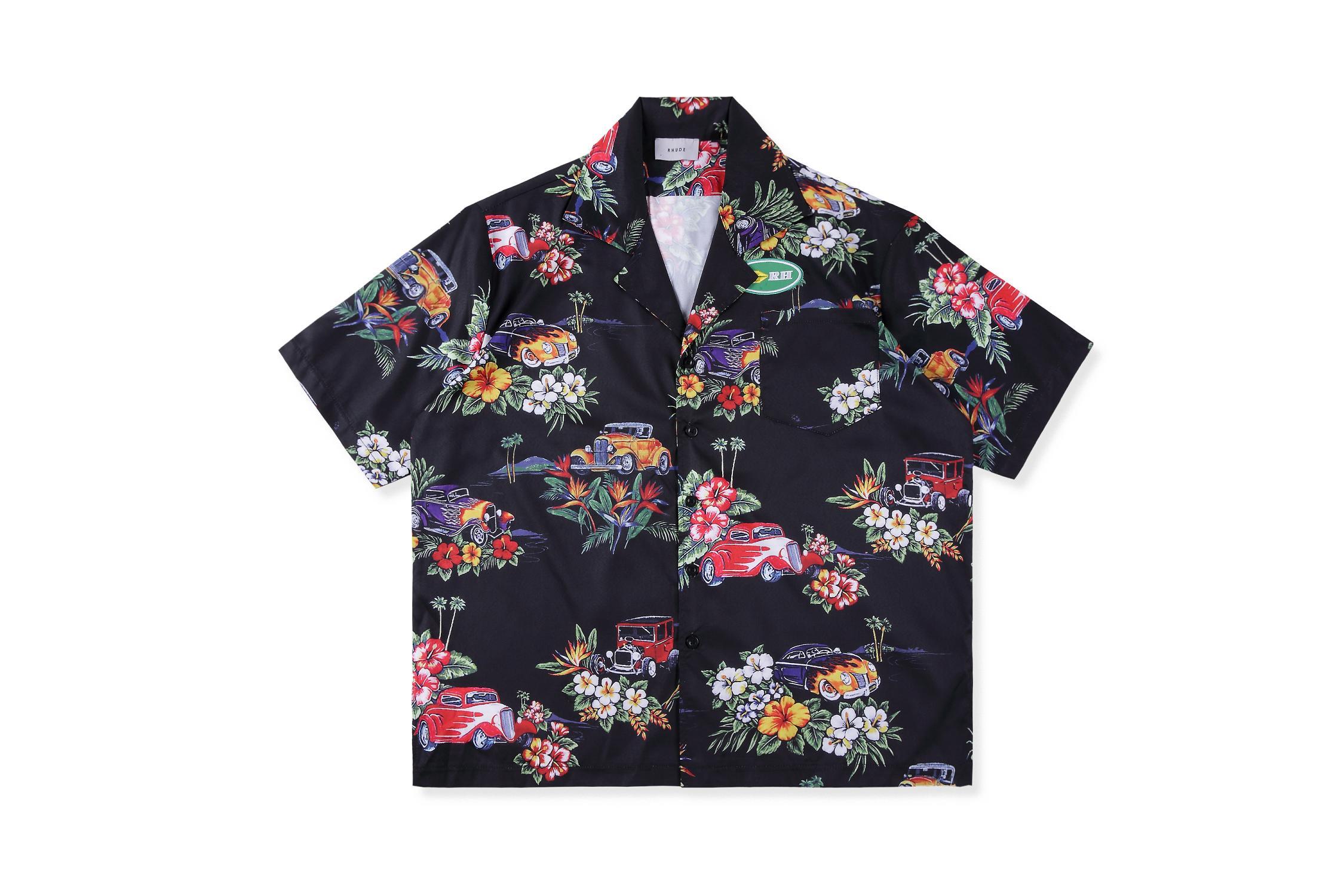 20ss RHUDE camiseta hawaiana hombres mujeres 11 top versión Camiseta corta RHUDE top tees Streetwear Hip Hop Casual RHUDE camiseta