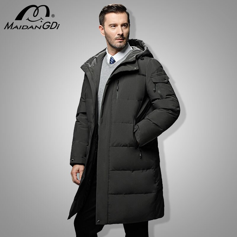 MAIDANGDI Men's Down Jackets 2021 Winter New Male's Solid Color Business Casual Hooded Coats Thickened Warm Windproof Clothes