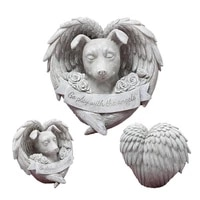 angel dog memorial statue resin dog sleeping in angel wing decor figurines interior pet decoration gift for garden home decor