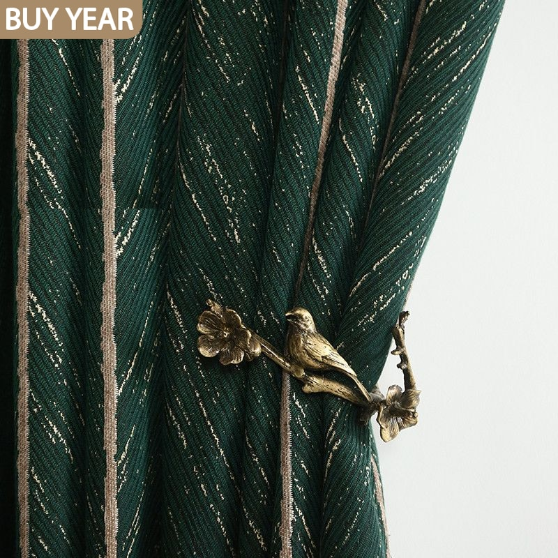 AliExpress - Nordic Ins Curtains for Living Room Bedroom American Light Luxury Retro Green Fish Bone Curtains Finished Product Customization