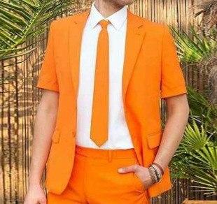 Traje Casual de moda para hombre, trajes de boda naranjas, traje de novio, esmoquin, chaqueta para el mejor hombre, pantalón corto, 2 piezas, traje para hombre