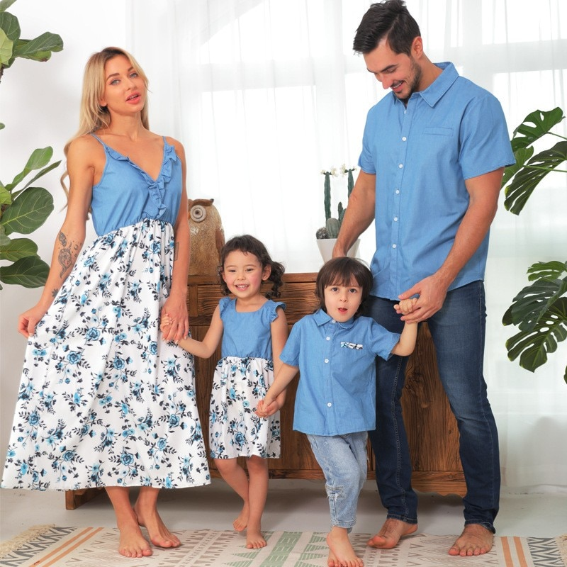 Family Matching Outfits For Photoshoot Summer Family Look Denim Shirt With Baby Boy Parent-child Set