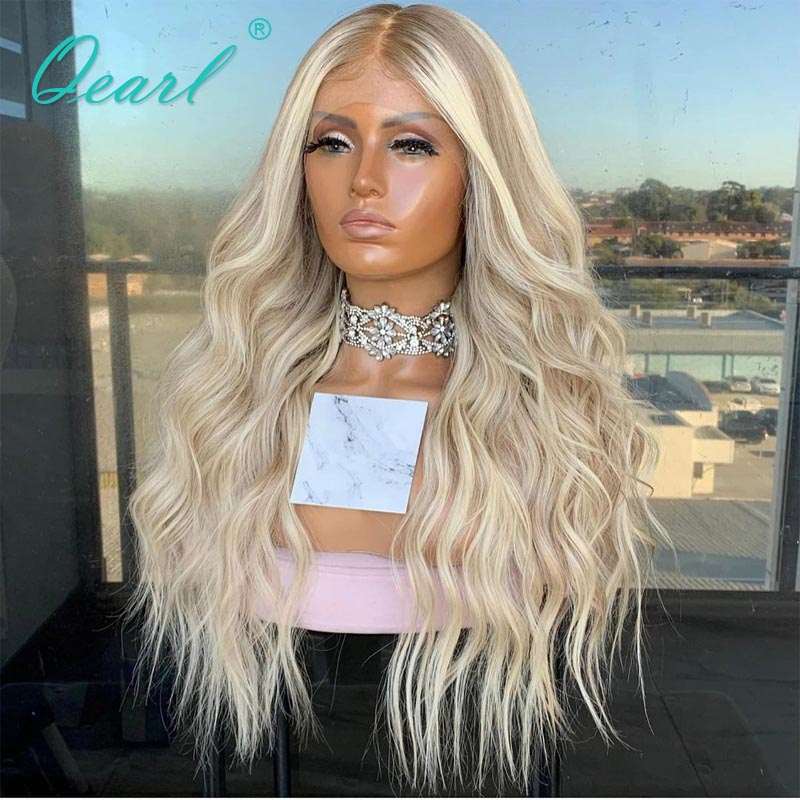 Ombre Platinum Blonde ASh Highlights Lace Front Wig 13x4/13x6 Long Human Hair Wigs 26