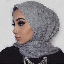 여자 우아한 2019 단단한 스카프 crinkle hijab 면화 이슬람 경량 포장 turban foulard 이슬람 목도리 머리 스카프