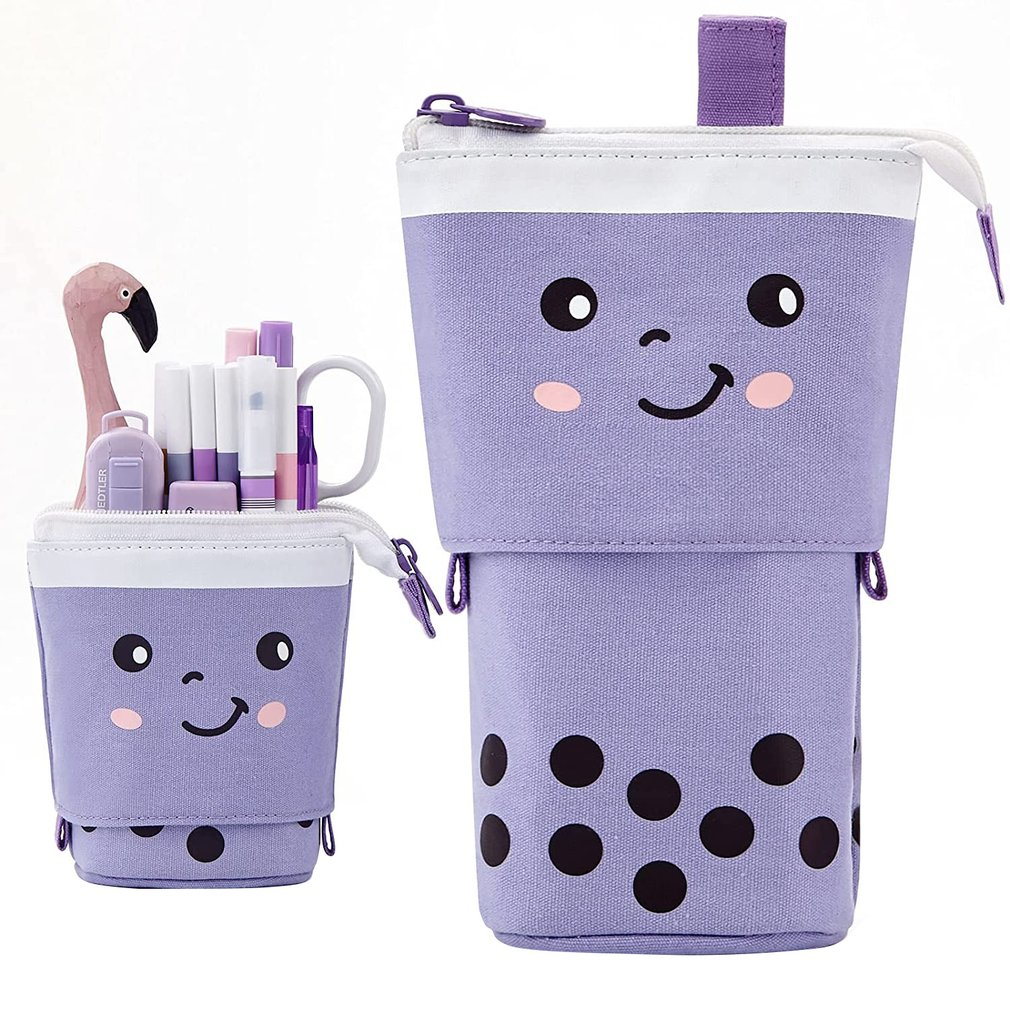 Creative Retractable Cat Pencil Case School Stationery Bag Kawaii Canvas Student Cute Pencil Holder Gifts For Kids Pen Bag large space kawaii creative unicorn fabric zipper pen bags cute multipurpose school pencil case for kids gift student stationery