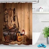 retro wooden farmhouse barn shower curtain american west rodeo cowboy waterproof polyester fabric bathroom shower curtain