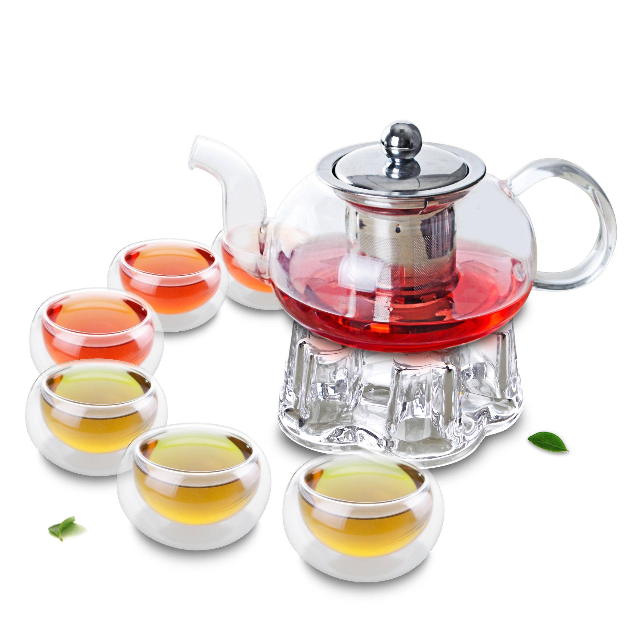 1x 8in1 الكونغ فو القهوة الشاي مجموعة B-625ml قصيرة منخفضة الزجاج الشاي وعاء ث/الفولاذ المقاوم للصدأ تصفية الكريستال دفئا 6 * جدار مزدوج طبقة كوب