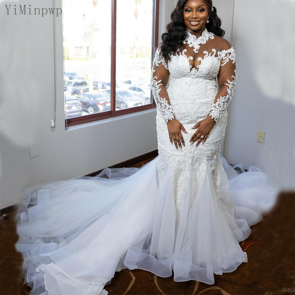 YiMinpwp أبيض حورية البحر فستان الزفاف للعروس رقبة عالية كم طويل دانتيل حتى الظهر سويب تراين زينة خرز زي العرائس