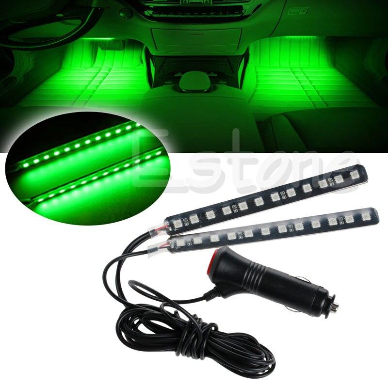 New Signal Lamp 2X12 LED Car SUV Interior Footwell Floor Decor Atmosphere Light Neon Strip Green