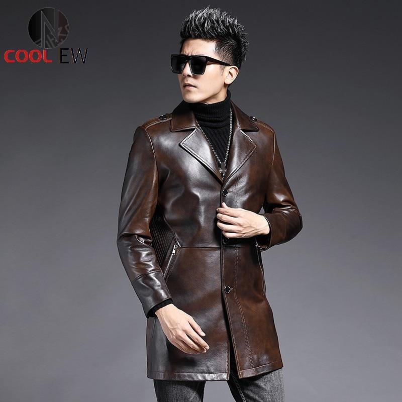العلامة التجارية جلد طبيعي متوسطة طويلة سترة الرجال Lapel التلبيب معطف جلد الغنم الأعمال واحدة الصدر واقية من الرياح غير رسمية حجم كبير