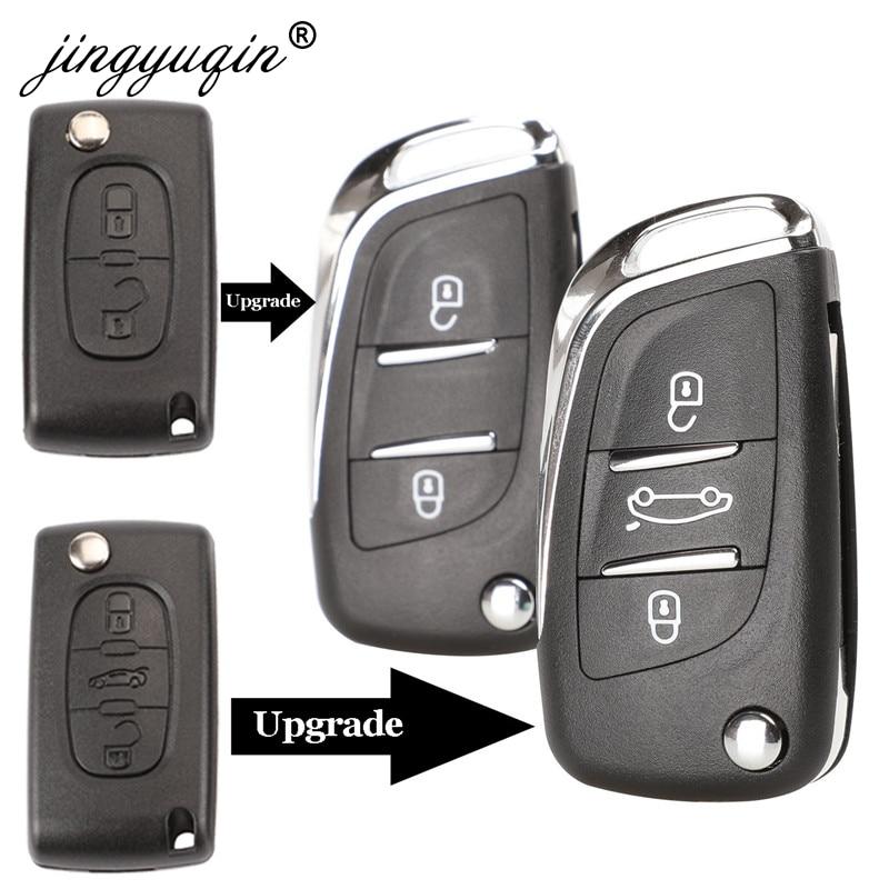 jingyuqin CE0523 Modified Flip Key Shell For Citroen C2 C4 C5 Berlingo Xsara Picasso Peugeot 306 407 807 Partner VA2/HU83 2/3BTN