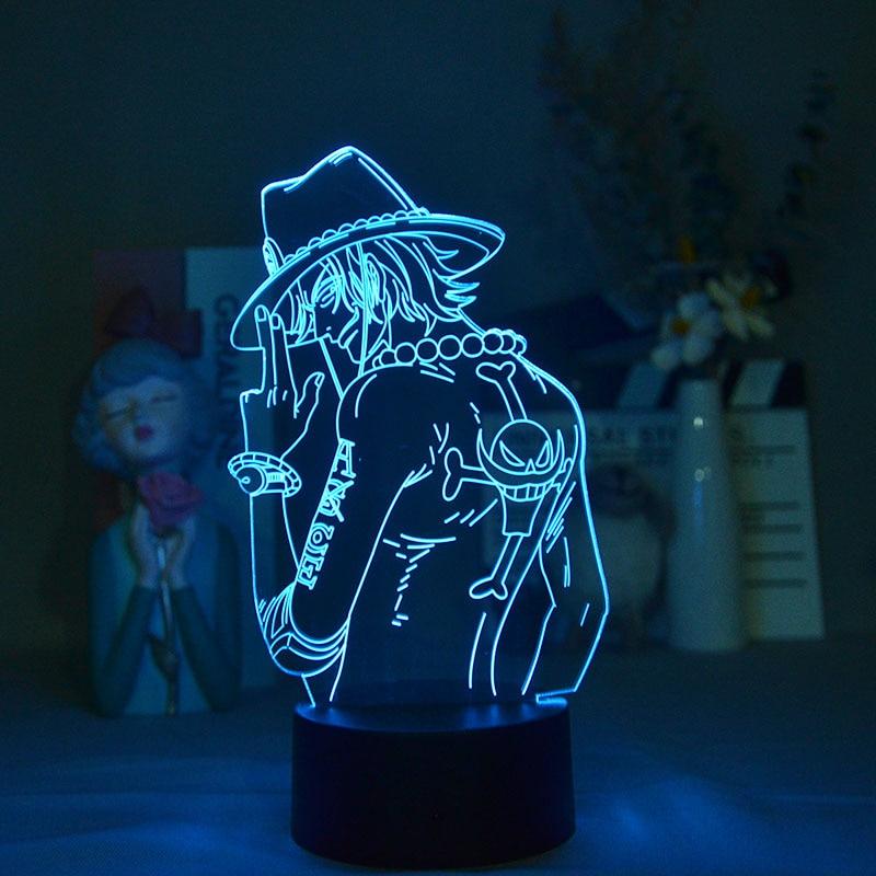 3D Night Light Plug In Smart Phone Control One Piece Portgas D  Ace Led Spotlights Cute Room Decor Lamp For Bedroom Desk Decor