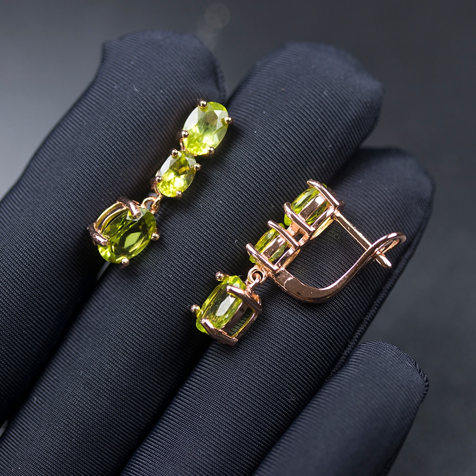 Bolai Natural Peridot Clasp Earrings 925 Sterling Silver Rose Gold 3-stone Jewelry for Women Classic August Birthstone Gift 2021