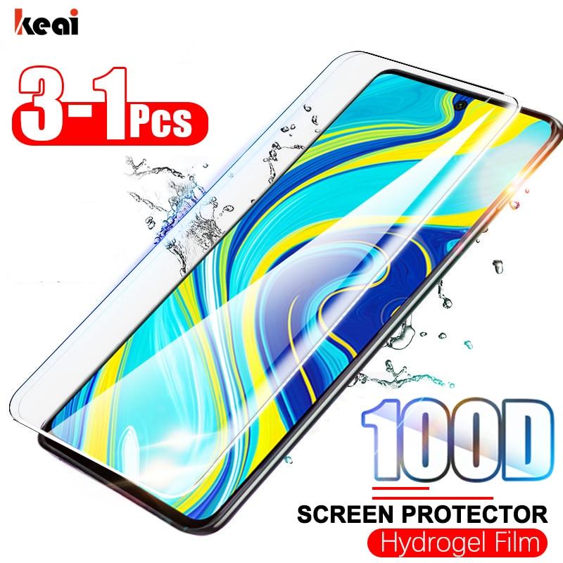 3-1 Uds 100D película curva de hidrogel para Redmi Note 9S 9 8 7 Pro 7A fundas cubierta completa para Xiaomi Mi 10 9T Pro A3 Protector de protector pantalla no de vidrio