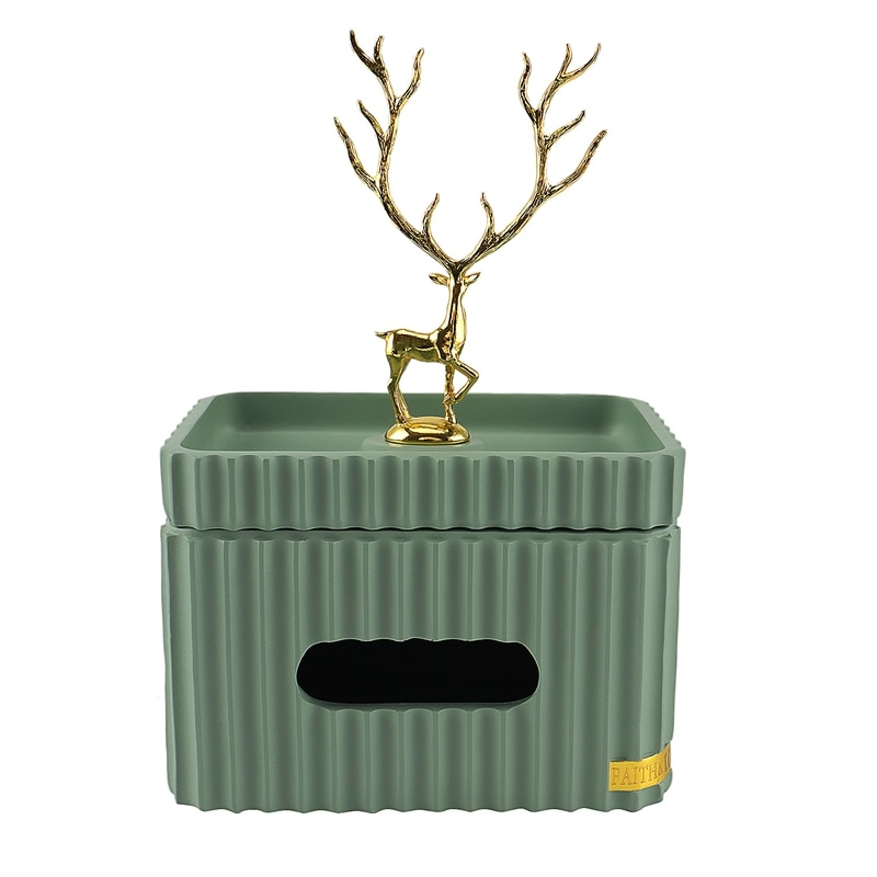 الذهبي الغزلان مستطيلة الأنسجة صندوق الراتنج مخطط تخزين الأنسجة علبة غرفة المعيشة سطح المكتب ديكور المنزل