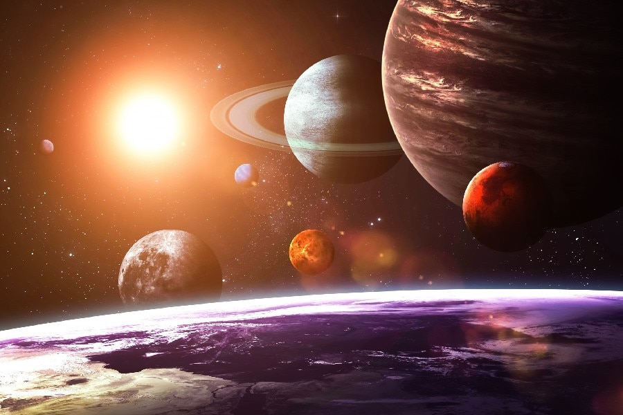 solar system as seen from earth Space scenery Art Film Print Silk Poster Home Wall Decor 24x36inch