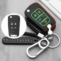 luminous leather car key fob case shell for buick lacrosse chevrolet camaro cruze equinox impala gmc terrain