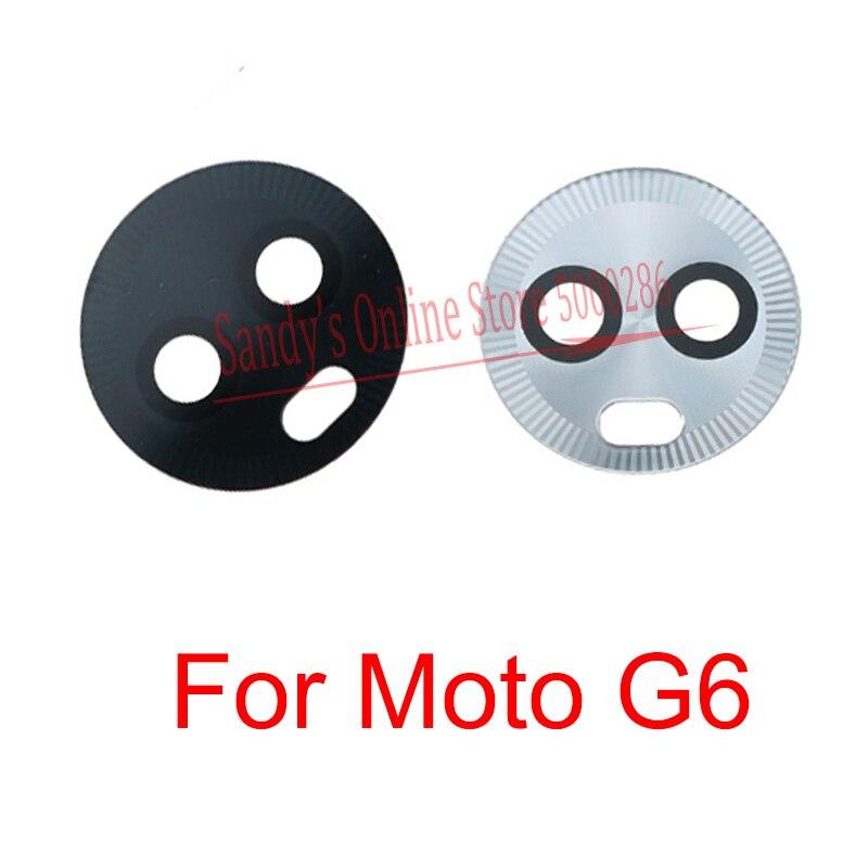 10 Uds nueva cámara trasera negra Lente de Cristal funda para Motorola Moto G6 parte trasera Gran lente de la cámara principal cristal adhesivo con cola pieza de repuesto
