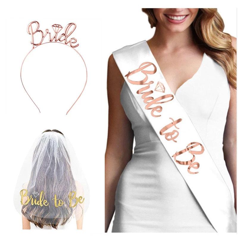 Свадебные украшения, свадебная фата для девичника, атласный пояс для невесты, девичник, украшение для девичника
