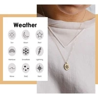 jujie 316l stainless steel minimalist jewelry elegant weather necklace gold chain engrave star moon charm necklace snow choker