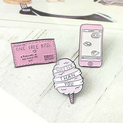 Сладкий зефир пара MP3 мобильный конверт штамп купон креативная брошь значок любовь поцелуй плащ эмаль булавки детские подарки