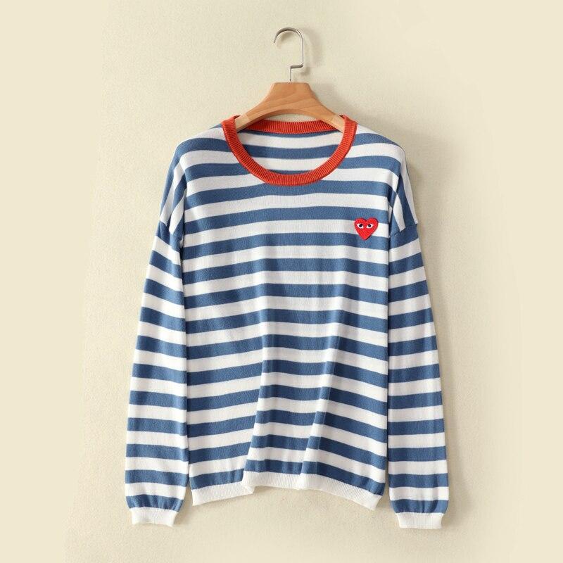 Новый женский пуловер, женский свитер в полоску, хлопковый свитер, пуловер, свитер, женский свитер с вышивкой love