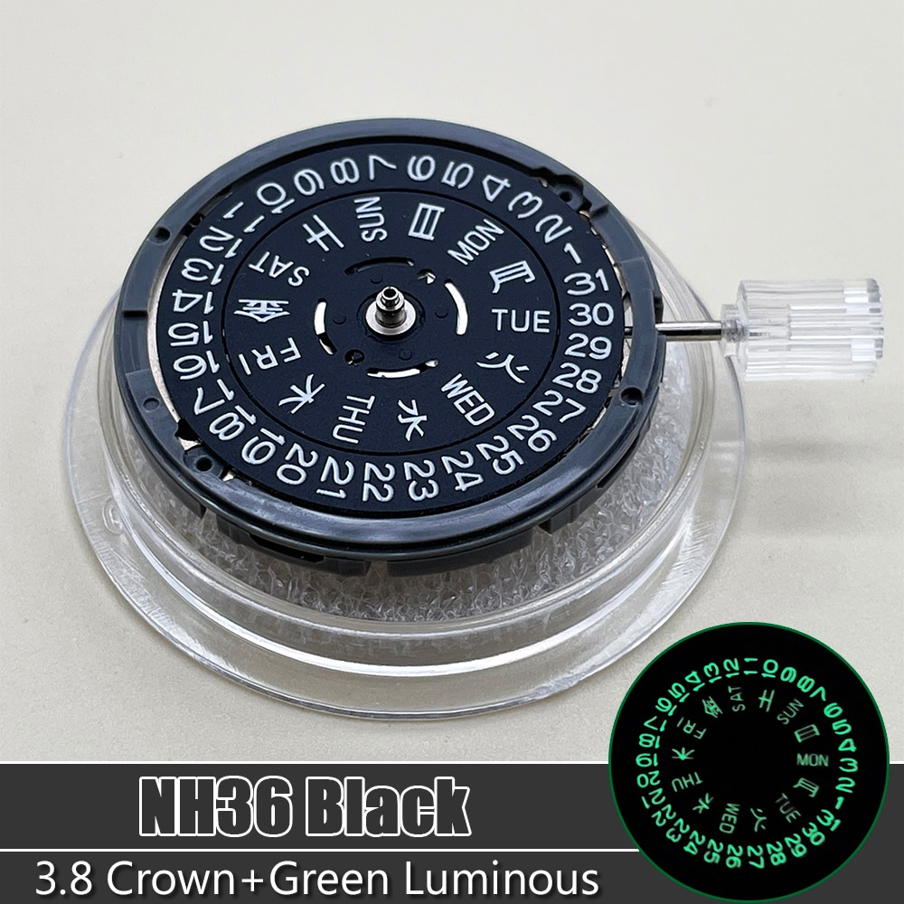 NH36/NH36A Mechanical Date/Day Setting 3.8 O'Clock 24 Jewels Watch Replacements SEIKO Japan Black Automatic Movement enlarge