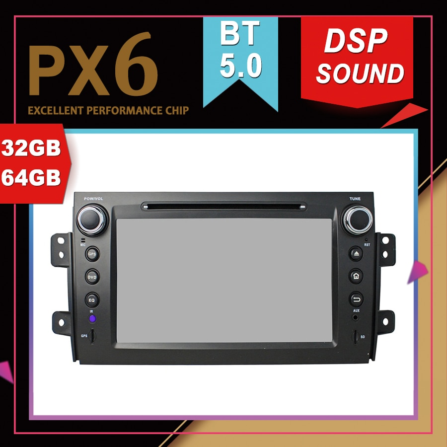 Rockchip PX6 Processor Android 9.0 Car Multimedia GPS For SUZUKI SX4 2006-2012 DSP Sound Navigation Tape Recorder Radio