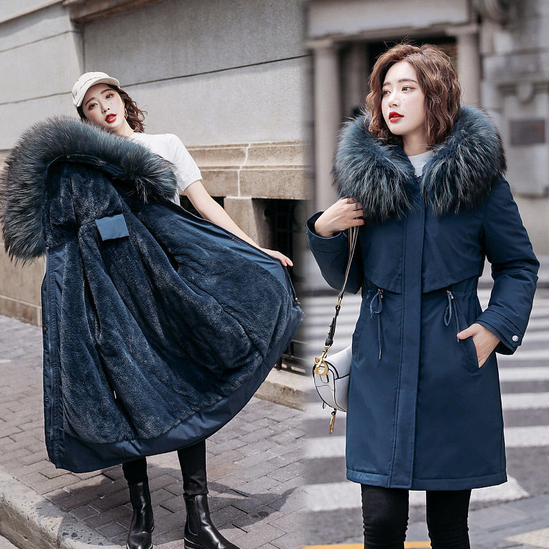 Female 2021 Winter Jacket Women Large Fur Collar Hooded Thicken Cotton Padded Women's Outerwear Park
