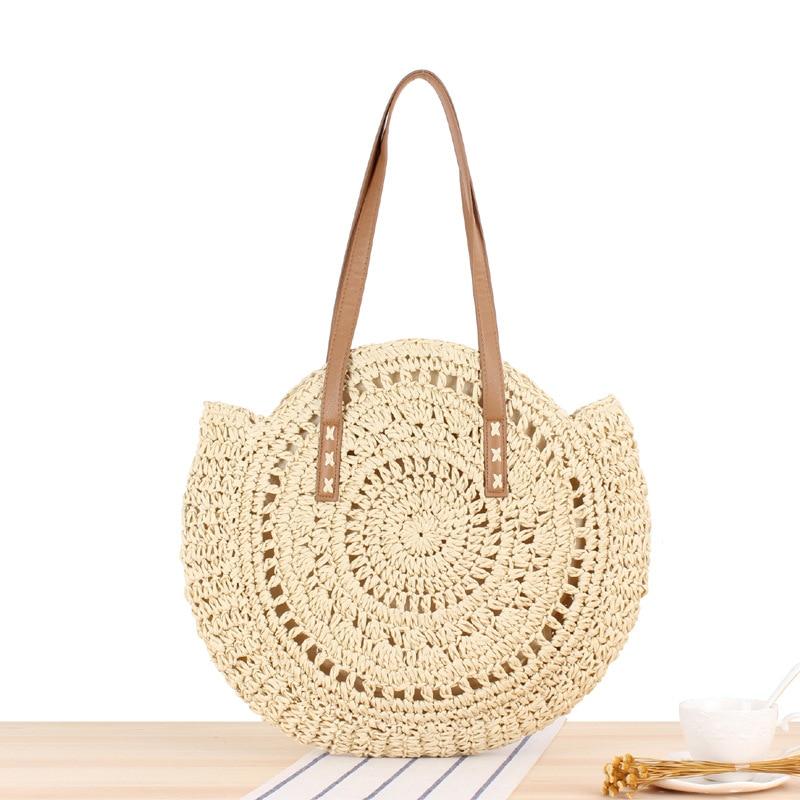 2020 حقائب الصيف جولة سترو للمرأة القش حقيبة اليدوية المنسوجة شاطئ CROSSBODY حقيبة أنثى رسالة حقيبة اليد