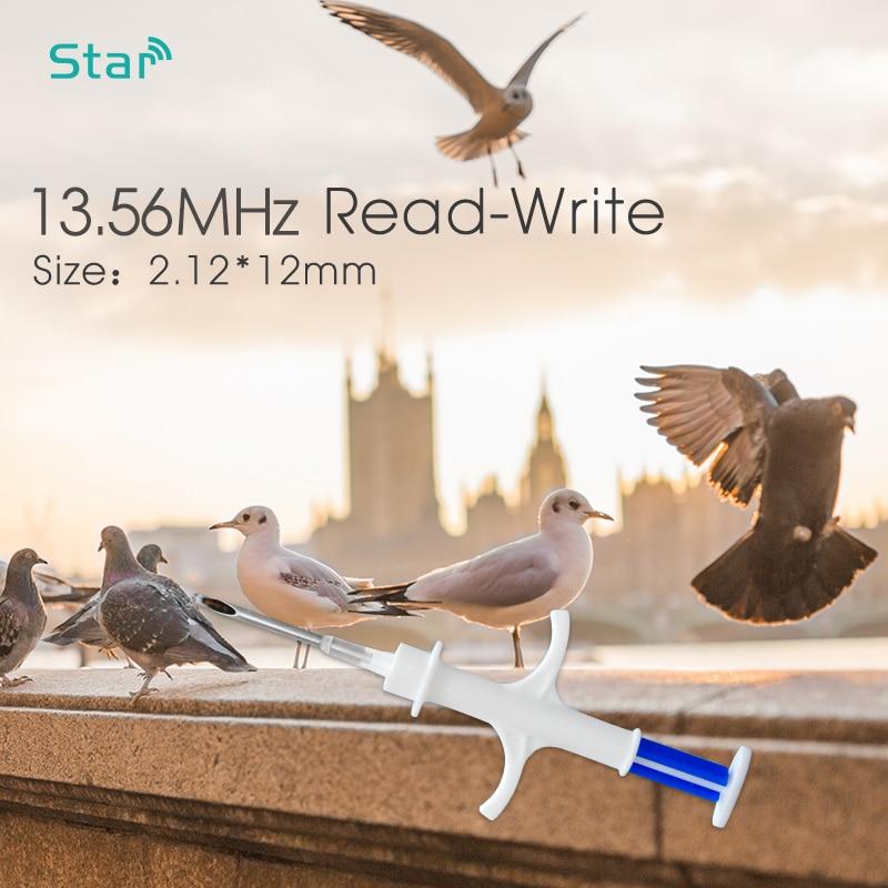 Iso 13.56mhz nfc pet microchip 2.12*12mm identificação animal microchip ntag216 transponder pet chip rfid injeção seringa frete grátis