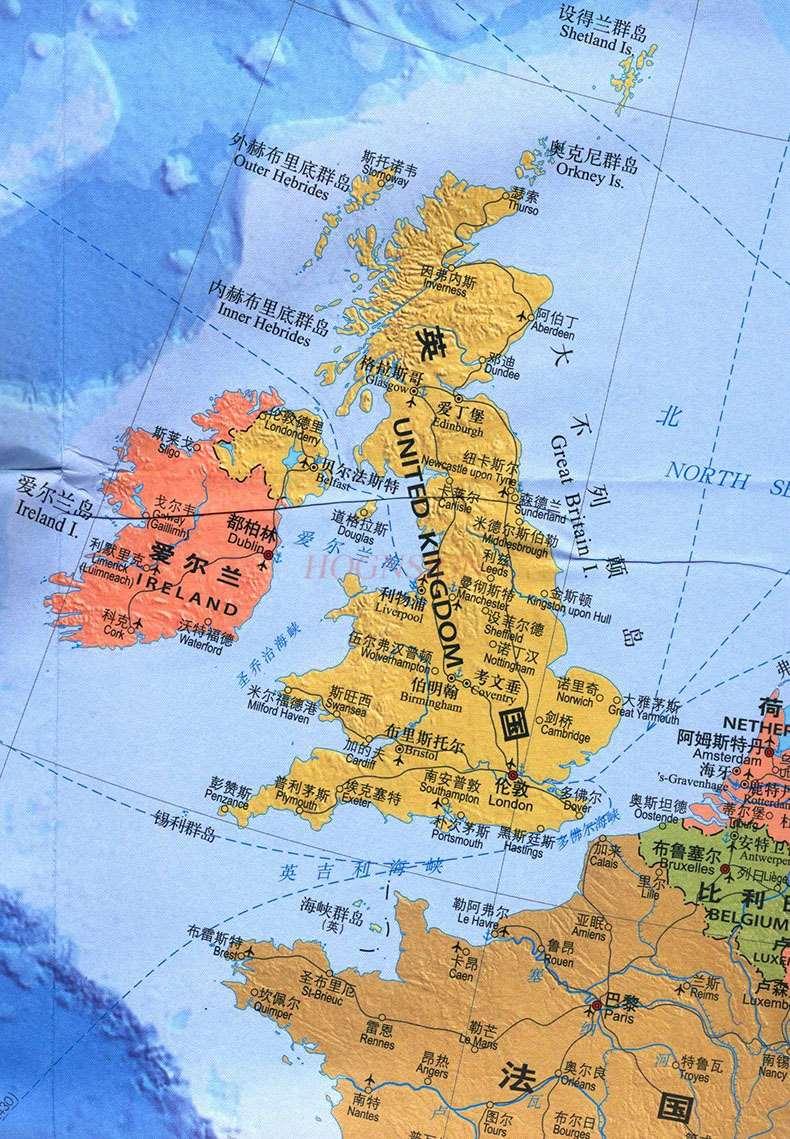 Карта Европы китайская и английская карта мира горячие страны Карта Европы Карта путешествий