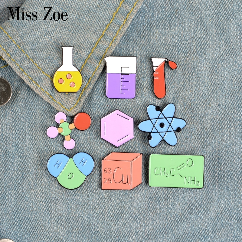 Chemistry Lab Enamel Pin Custom Brooches for Bag Clothes Lapel Pin Chemical equation Badge Element M