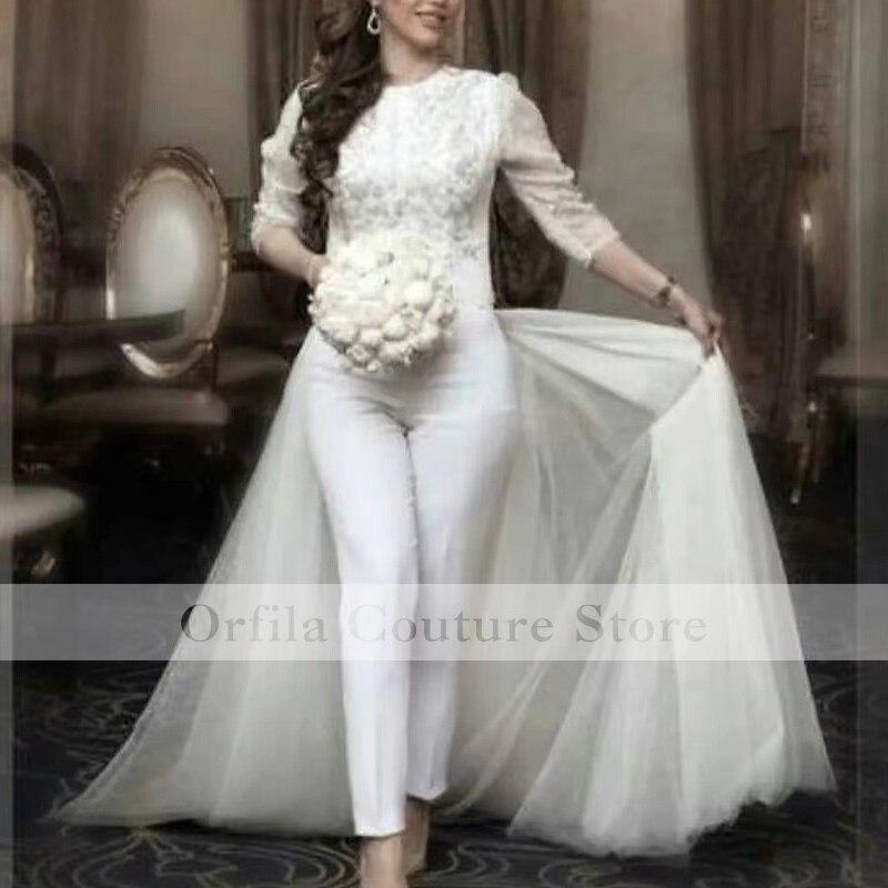 Review Applique Wedding Jumpsuit Dresses Removable Train O-neck Country Garden Bridal Party Pant Suit