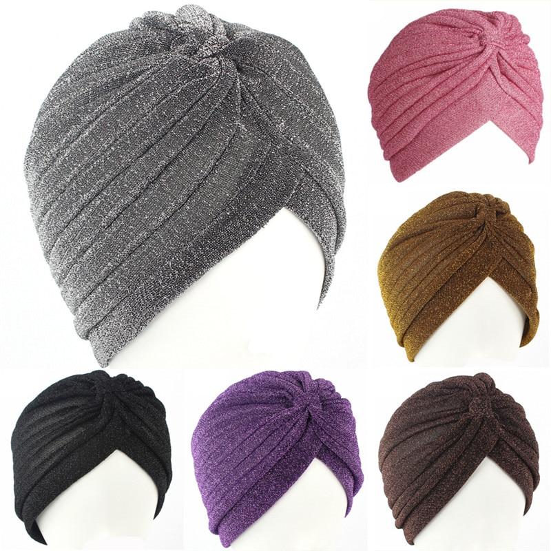 Turban doré brillant pour femmes, nouveau chapeau extensible, doux et lumineux, Style indien, Hijab fin, à la mode, 2019