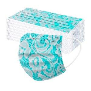 50pc Elegant Lace Face Masks Fashion Women Disposable Face Masks 3-layers Protective Breathable Industria Earloops Bandage Maske