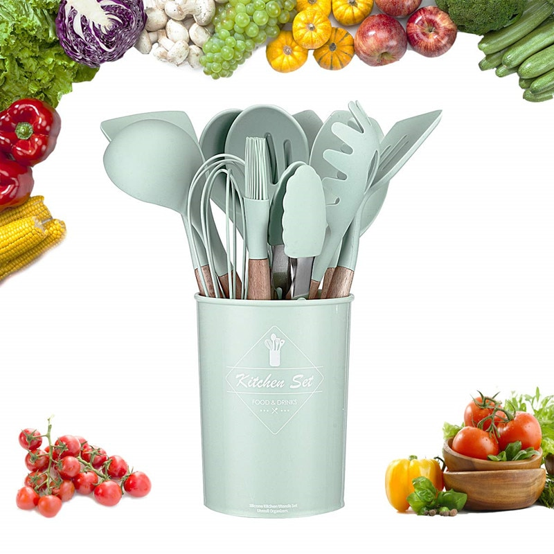 الأخضر المطبخ تجهيزات المطابخ أدوات مطبخ من السيليكون غير عصا الطبخ وعاء مجموعة ملعقة مغرفة البيض المضارب مجرفة أواني أداة الملحقات
