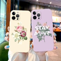 bloom flower for iphone 12 11 pro max mini 6 6s 7 8 plus x xr xs max se 2020 cover luxury label beige soft silicone case