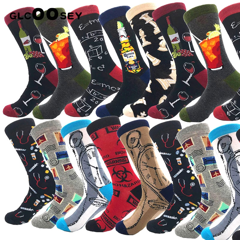 New Casual Combed Cotton Men's Socks Tend Harajuku Street Hip Hop Funny Happy Socks Colorful Avocado Pattern Long Socks For Men