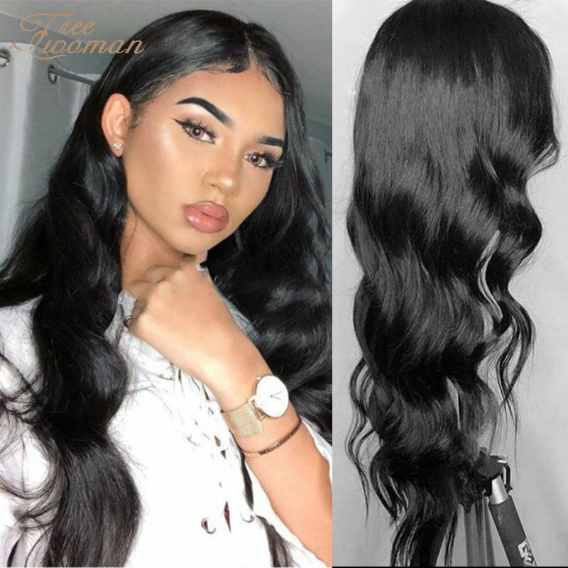 FREEWOMAN Long Wavy Synthetic Wig 24in Red Middle Part WIth Natural Hairline Women Wigs Heat Resistant Fiber Party Hair