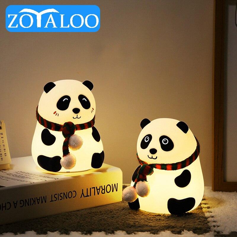 Led الكرتون مصباح سيليكون الباندا USB قابلة للشحن اللمس الاستشعار الملونة مصباح سيليكون أباجورة غرفة نوم للأطفال الأطفال