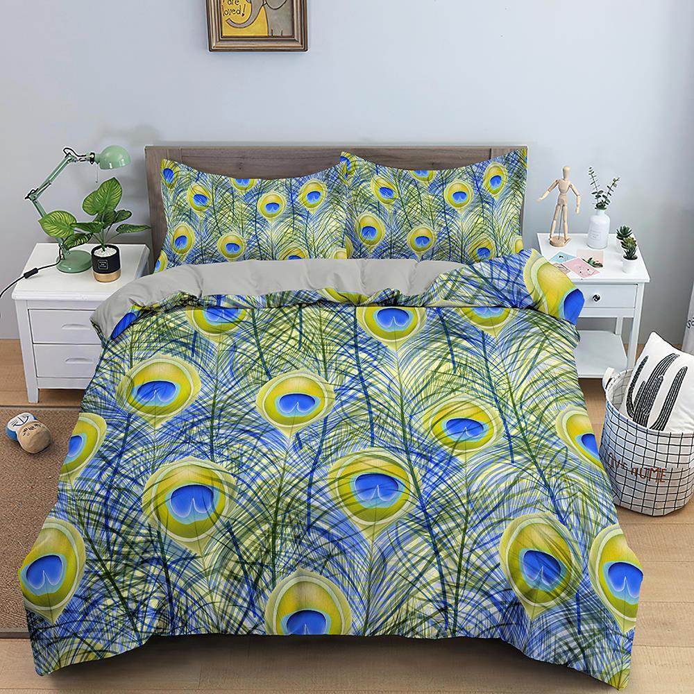 الريش نمط طقم سرير غطاء لحاف الفاخرة التوأم الملك حاف مجموعة غطاء مع المخدة المفارش لغرفة النوم 2/3 قطعة