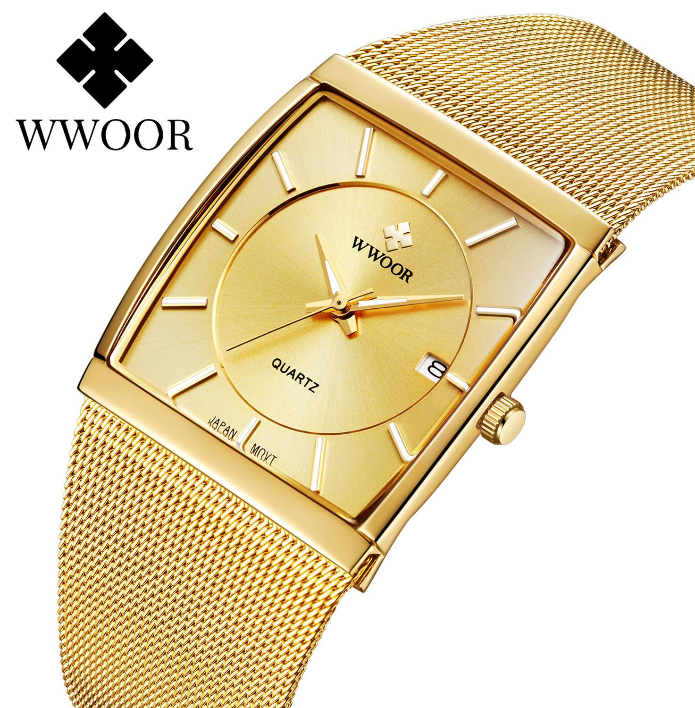 Movimento de Quartzo Relógios dos Homens Relógio para Masculino Relógio de Pulso à Prova Japão Wwoor Marca Superior Luxo Ultra Fino Ouro Malha Aço Quadrado Dwaterproof Água