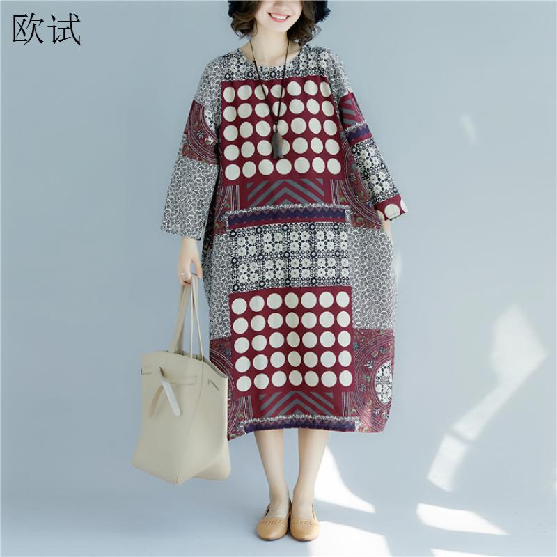 Plus Size Polka Dot Floral Woman Dress 2020 Spring Summer Ladies Dresses Cotton Linen Long Sleeve Vintage Casual Women Dress