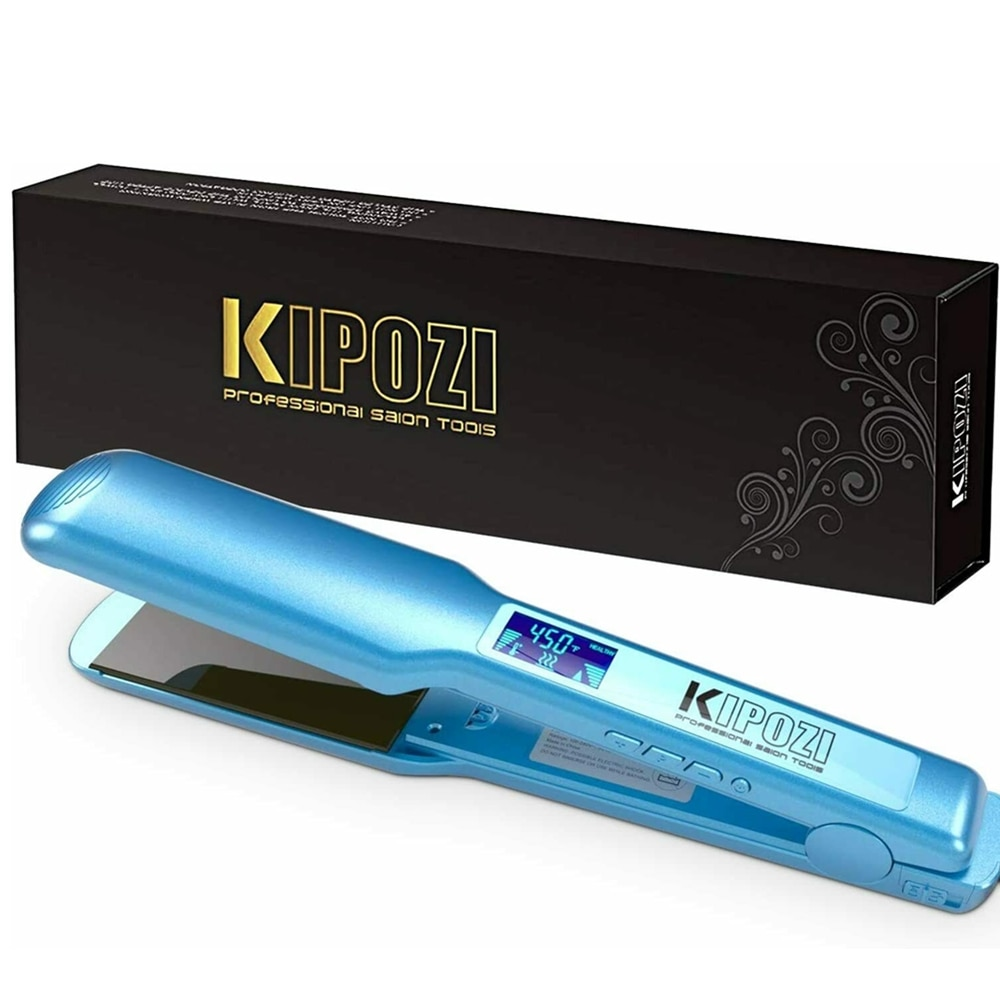 KIPOZI Pro مكواة تجعيد التسخين الفوري 360 مكواة فرد الشعر مع شاشة الكريستال السائل الرقمي الجهد المزدوج نانو تيتانيوم حديد مسطح